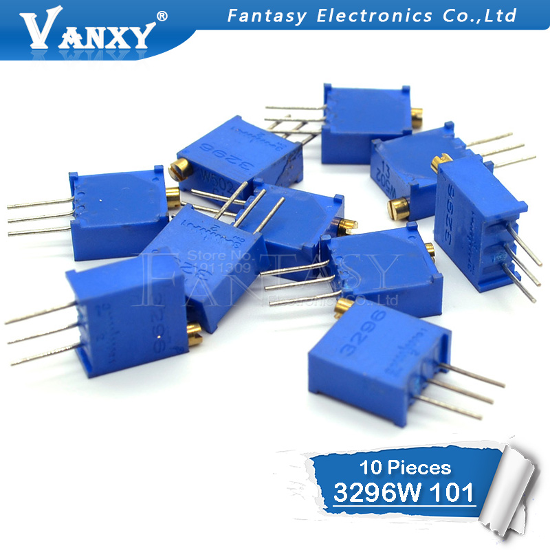 10pcs 3296W-1-101LF 3296W 100 Ohm 101 3296W-1-101 3296W-101 W101 Trimpot Trimmer Potentiometer