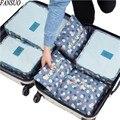 6pcs/set Fashion Double Zipper Waterproof Nylon Luggage Travel Bags Packing Cubes Unisex Clothing Sorting Organize Duffle Bag