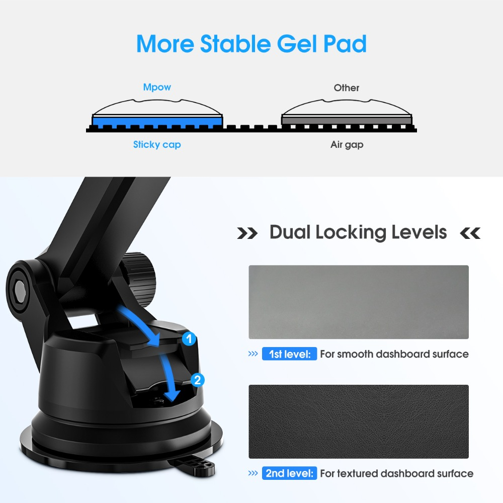Image 4 - Mpow CA104 Dashboard Car Phone Holder 2 Suction Levels Washable Gel Pad Universal For iPhone Xs Xr 8 Xiaomi 8 Huawei Samsung S9Phone Holders & Stands   -
