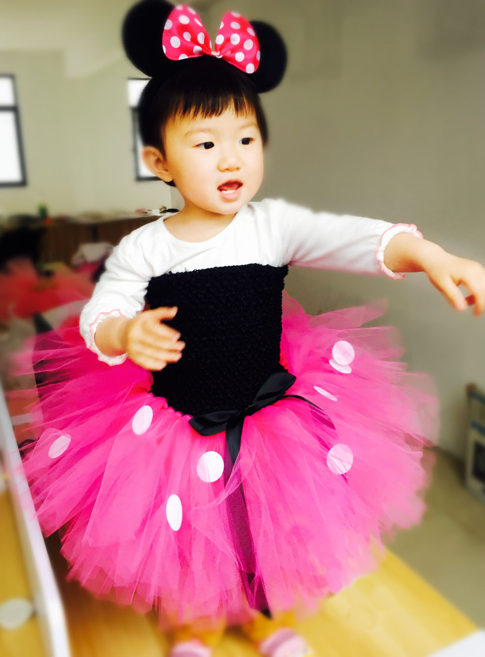 Black Top Rose Red Tulle Tutu Mini Mickey Dress with White Dots Knee Length Pretty Girl Dress for Halloween Outfits Kids Clothes in Dresses from Mother Kids