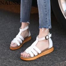 NAUSK Summer Genuine Leather Gladiator Sandals Women Fashion