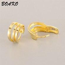 BOAKO Circle Round Hoop Earrings Women 2019 Korean Statement 925 Sterling Silver Huggie Hip Hop Rock Jewelry