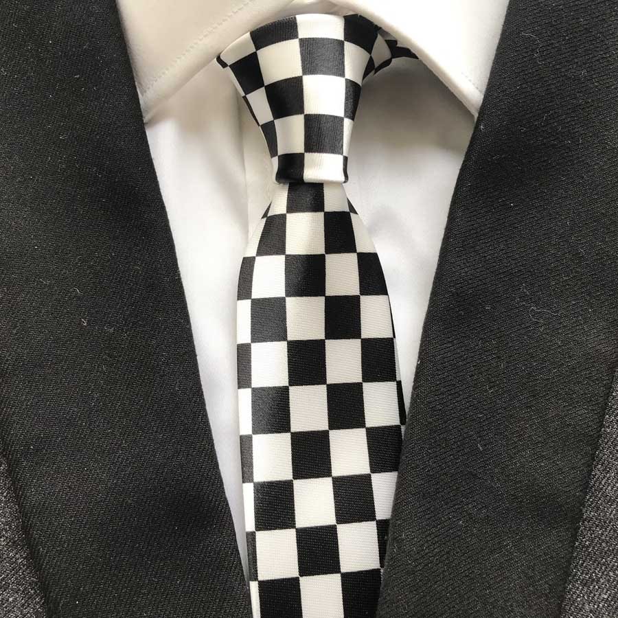 Hot Fashion Narrow Ties Black With White Plaid Checkered Necktie 5cm Gravatas Free Shipping