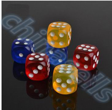 10pcs Transparent Poker Chips dice 14mm Six Sided Spot Fun Board game Dice D&D RPG Games Party Dice Gambling Game Dices