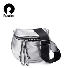 REALER crossbody bags for women bag 2019 summer metallic silver shoulder bag female PU leather messenger bag lady small handbag(China)