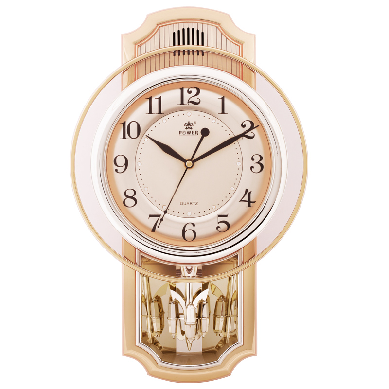 17 pouces tout nouveau mouvement silencieux horloge murale précise musique horloge à carillon horaire bureau horloge à quartz pendule rotatif