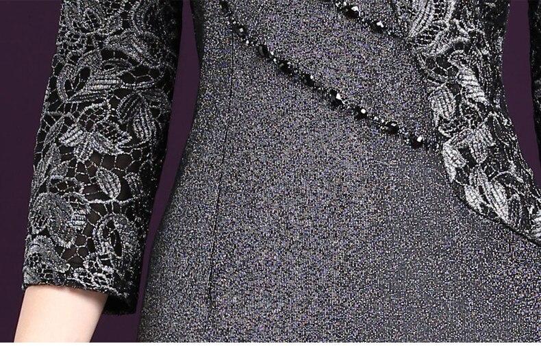 b3e03aac39 Kobiety Sexy sukienka 2019 jesień eleganckie kobiety zima 3 4 rękaw o  długości do kolana w stylu Vintage odzież robocza OL Bodycon koronkowe  sukienki ...