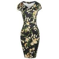Sheath Vintage Dress Women Patchwork Black White Summer Casual Elegant Floral Dresses Midi Plus Size 1950