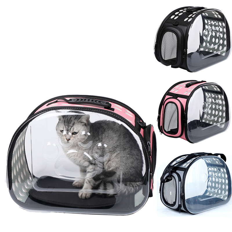 Pet Carrier Folding Cat Pack Pet Backpack Cat Dog Universal Travel Out Carrier Bag Package Transparent Breathable Cat Travel Box