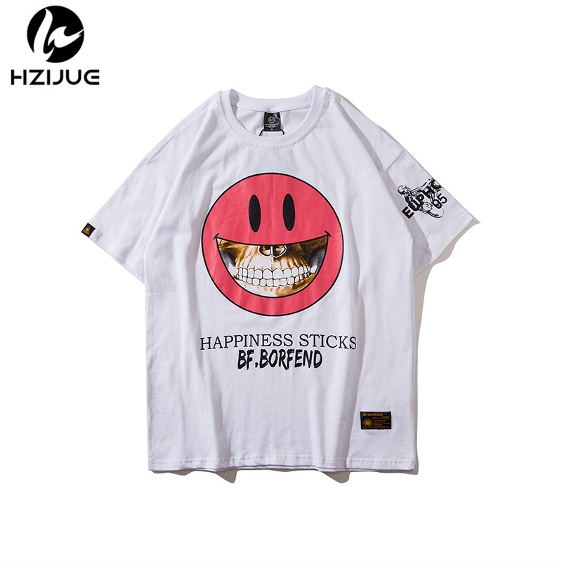 HZIJUE 2018 New Solid color T Shirt Mens Black/pink/ White T-shirts Summer Skateboard Tee Boy Hip hop Skate Tshirt Tops Men 2XL
