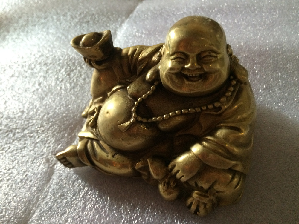 Chinese Old Rare Luck Bronze Smile Buddha Statue 2 Inches In Size