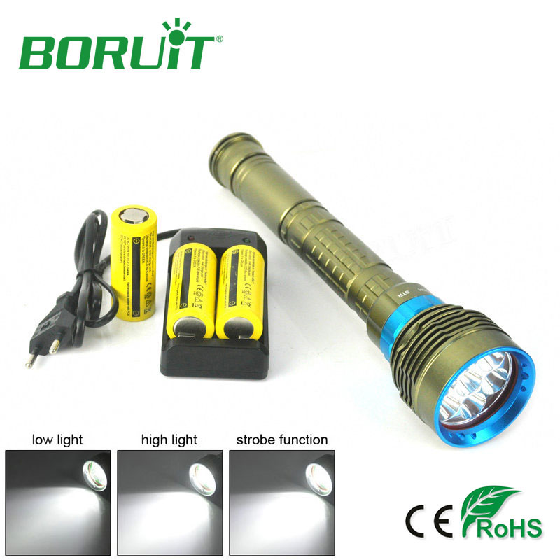 Boruit 7 XM-L2 LED Flashlight Waterproof Underwater 150m Diving Flash Light Camping Hunting LED Torch Lantern + Battery +Charger new 1000lm led flashlight hunting diving light lantern cree xm l2 underwater flashlight portable mini flash light waterproof