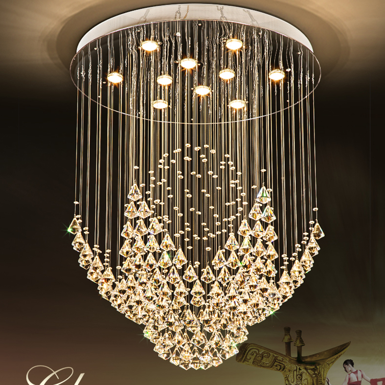 LED Modern Chandeliers K9 Crystal Chandelier Lights Fixture Home Indoor Lighting Villa Hotel Hall Parlor Round Hanging Lamps|k9 crystal chandelier|led modern chandelier|chandelier k9 - title=