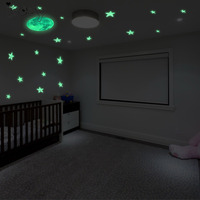107pcs 3D Stars And Moon Glow In Dark Luminous Fluorescent Plastic Wall Sticker Home Decor Decal