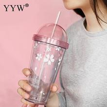 Pink Cute Water Bottles Student Cups Straw Cup Double With Lid Outdoor Bottle For Water Coffee Portable Mugs Kettle Gift Girl wheat straw double cup creative portable hand cup environmental protection cup with lid student cup tea coffee water