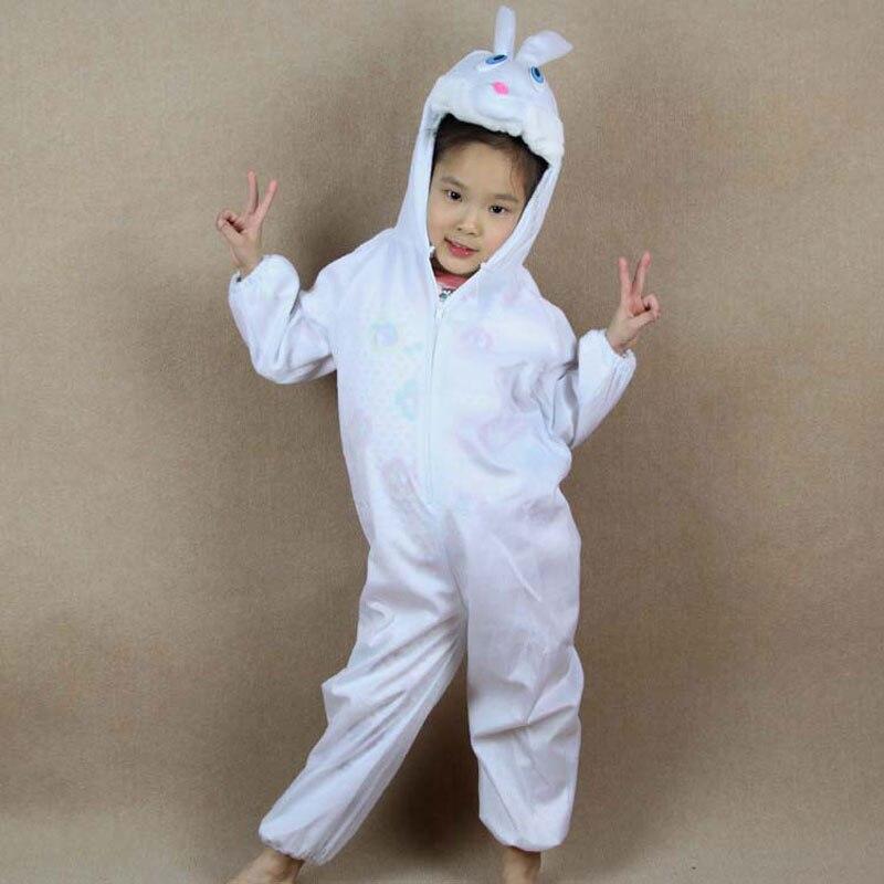 Umorden gyerekek gyerek lány fiú állati fehér nyúl ruha Cosplay - Jelmezek - Fénykép 3