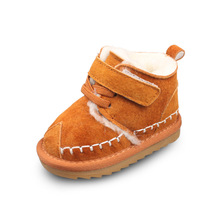 XQT.GZ Winter Baby Girl Shoes Plush 50% Wool Inside Warm Boots Toddler Shoes Genuine Leather  Baby Shoes Cow Muscle Shoes