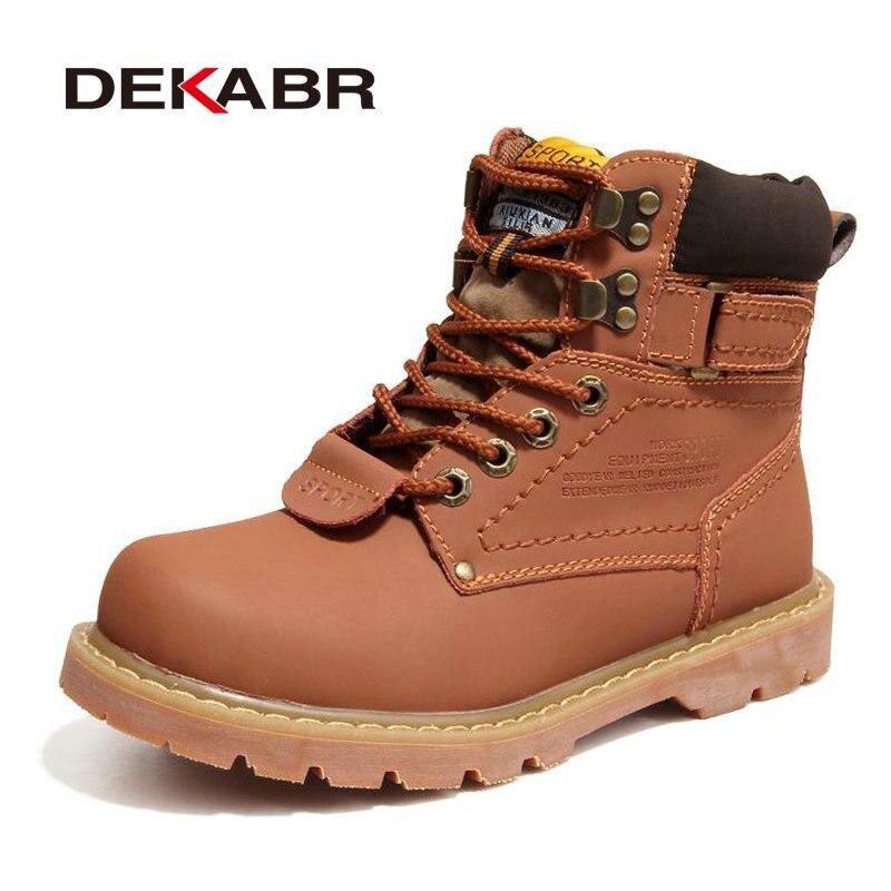 DEKABR/2018 Для мужчин; зимние ботинки из натуральной кожи с обувь на меху качество Для мужчин осень обувь Рабочая обувь плюс размеры: 35–46