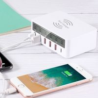 7 in 1 Type C USB QC 3.0 Fast Charge Qi Wireless Charger With LCD Voltage Current Display For iPhone Samsung Huawei Phone Tablet
