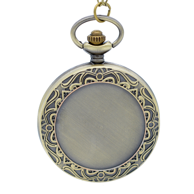 Fashion Style Bronze Flower Pattern can attached Photos Quartz Pocket Watch Anal