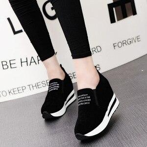 Image 3 - 2019 Bầy Cao Gót Phụ Nữ Giản Dị Giày Wedges Phụ Nữ Sneakers Giải Trí Nền Tảng Giày Thoáng Khí Tăng Trượt trên Giày Dép