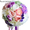 Elegant Customized Bridal Wedding Bouquet 18 Pieces Silk Roses Romantic Wedding Colorful Bride Bouquet buque casamento WF050PP
