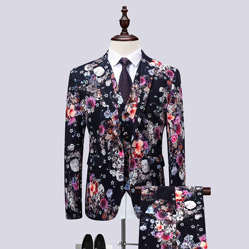 3piece Suit Men Korean Fashion Men Floral Suits Slim Fit Night Club/Prom/Party/Gentlemen Dress Suits For Men Clothes 2018 6XL M