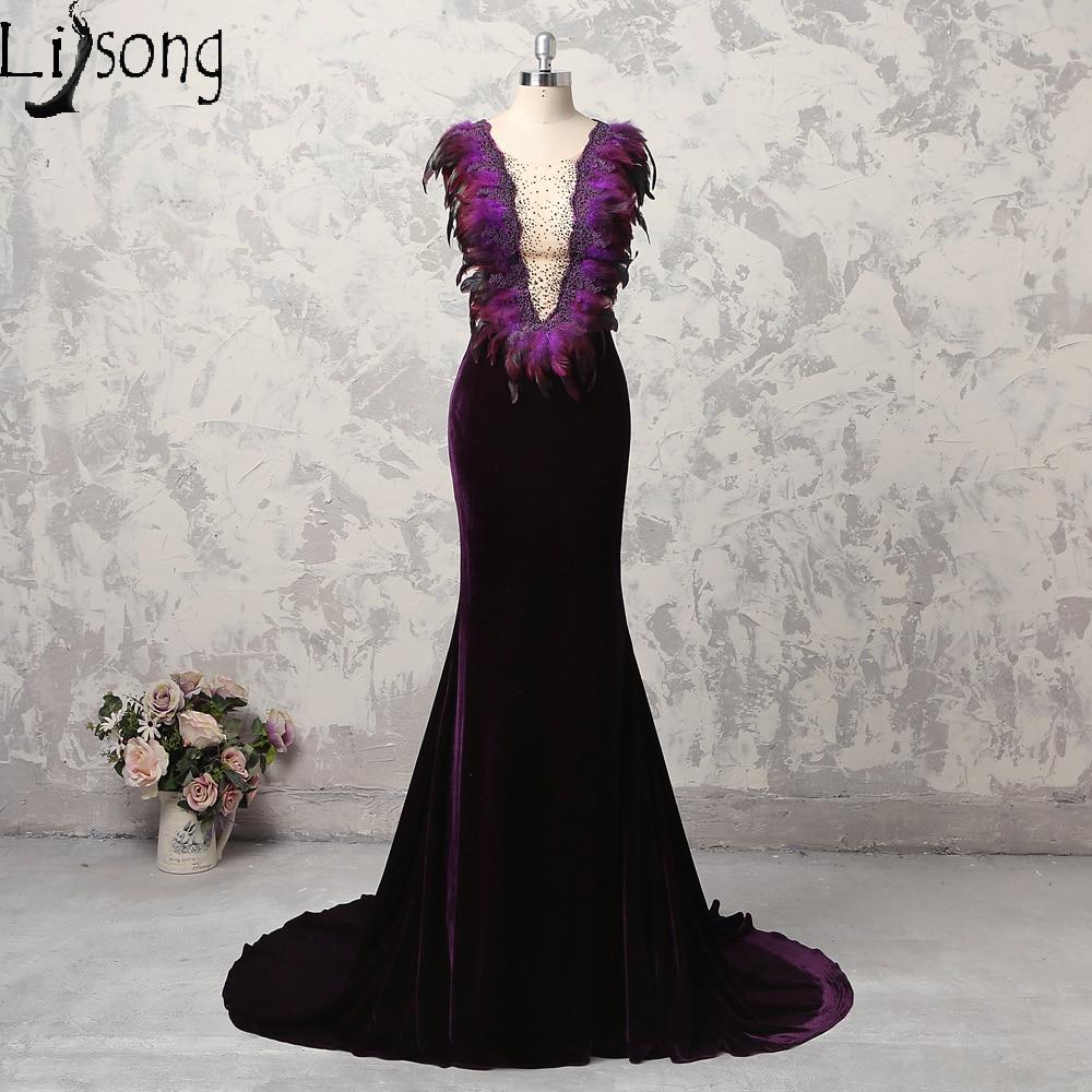 2018 Velvet Evening Dresses Long Modest Dark Purple Feather Womens ...