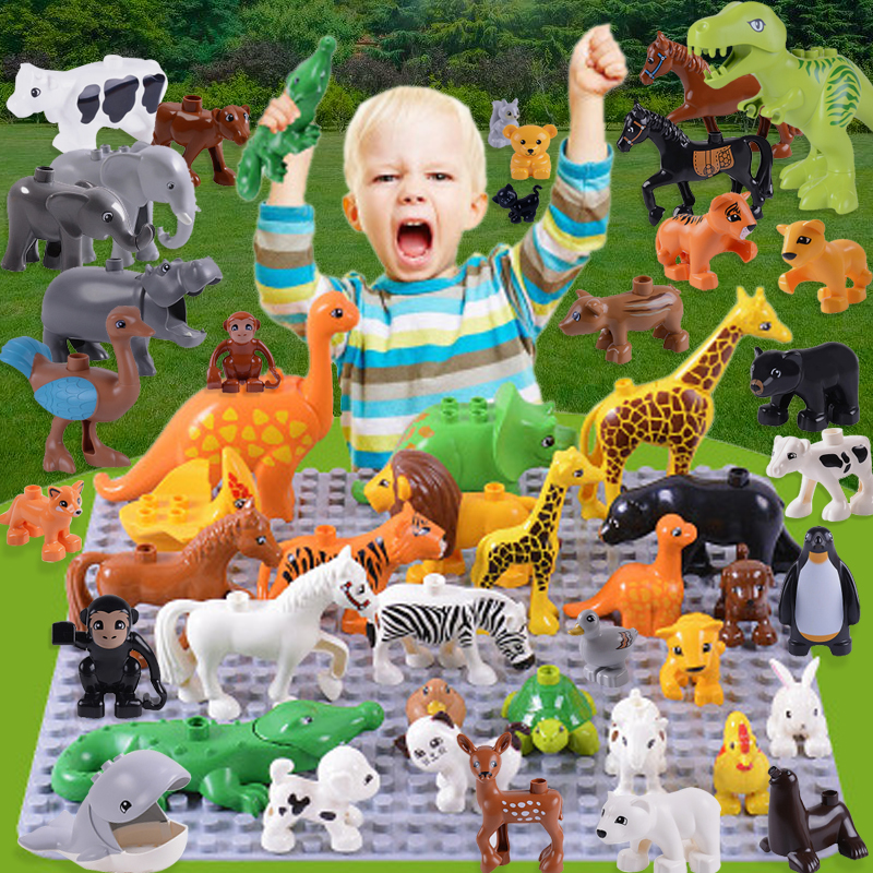20pcs/lot Animal Zoo Large Building Blocks Enlighten Child Toys Lion Pig DIY Set Brick Compatible With Duplo Kids Gift kids s home toys my first number train model 50pcs set large size building blocks duplo large particles brick toy for kids gift