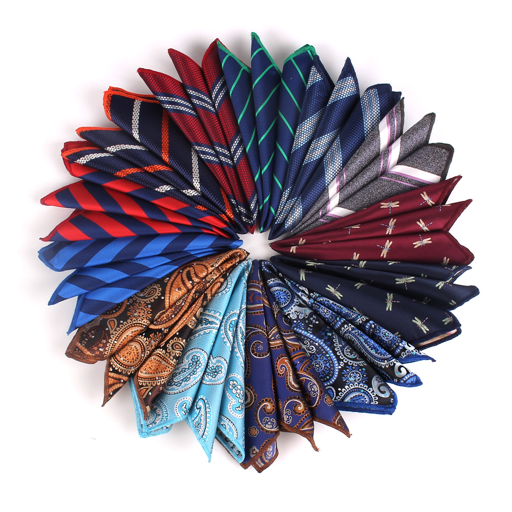 Men Pocket Square Striped Handkerchief For Suits Jacquard Hankies For Men Women Brand Suits Pocket Towel Hanky