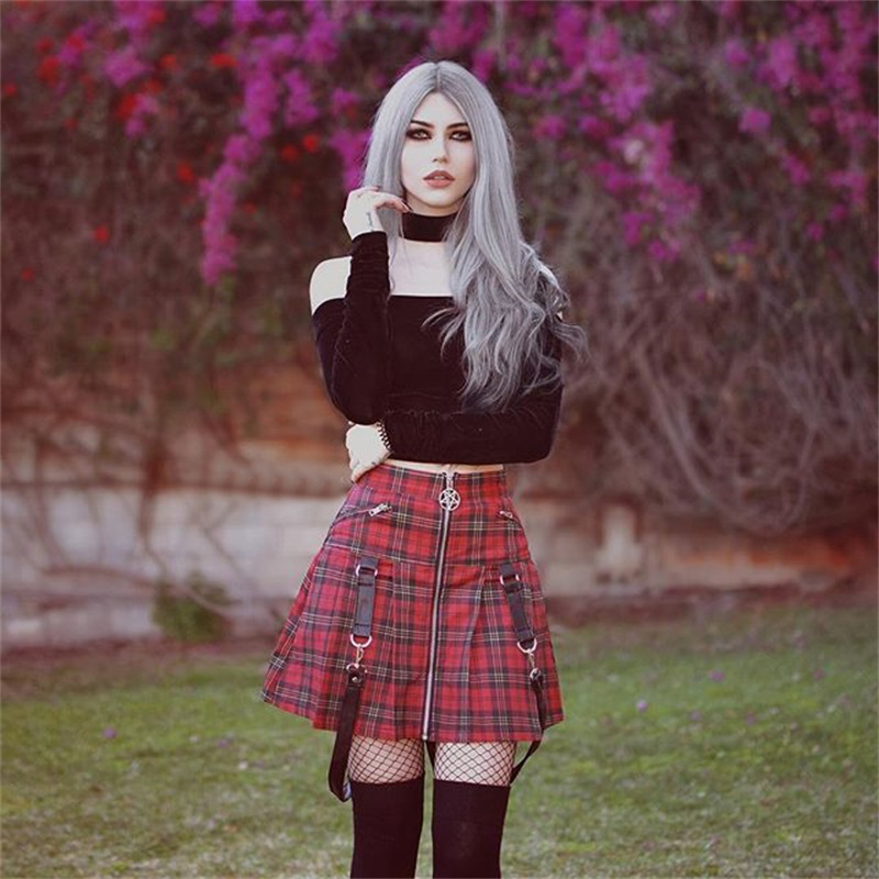 Paris Girl Halloween Gothic A Line <font><b>Skirts</b></font> Women Autumn Zipper Pleated <font><b>Plaid</b></font> School <font><b>Mini</b></font> <font><b>Skirt</b></font> Strap <font><b>Sexy</b></font> Solid Suspender Bottom image