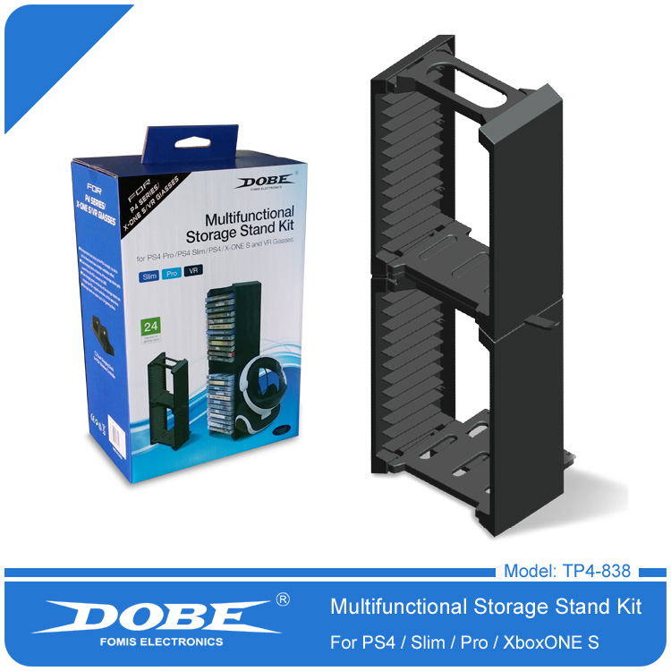 DOBE TP4-838 Multifunction Disc Storage Stand Kit For PS4/PS4 Slim/PS4 PRO/Xbox One Slim Console ps4 slim pro cd multi functional dual ultra large capacity disk storage tower for ps4 xbox one host with 24 game disc storage