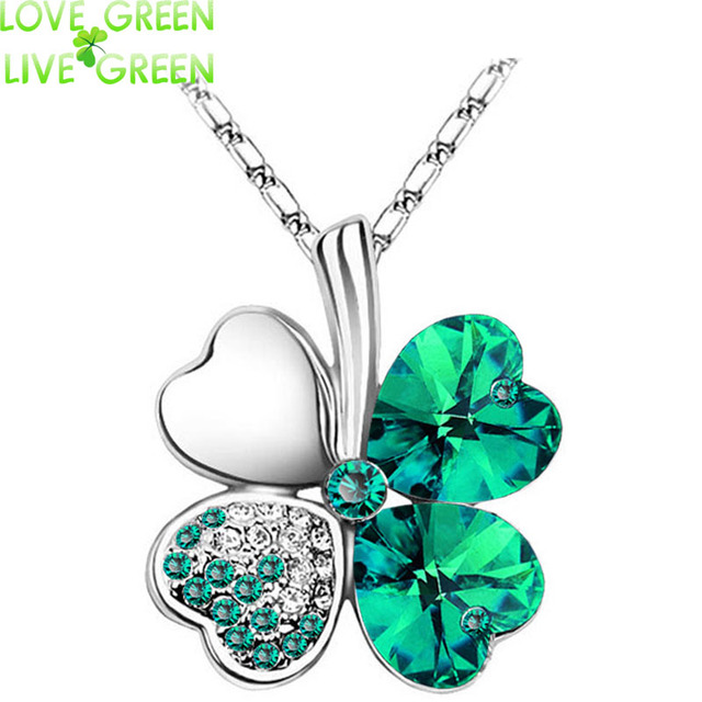 Women`s Day factory hotsell Austrian Crystal four Leaf Leaves Clover heart rhinestones necklace pendant jewelry 9554