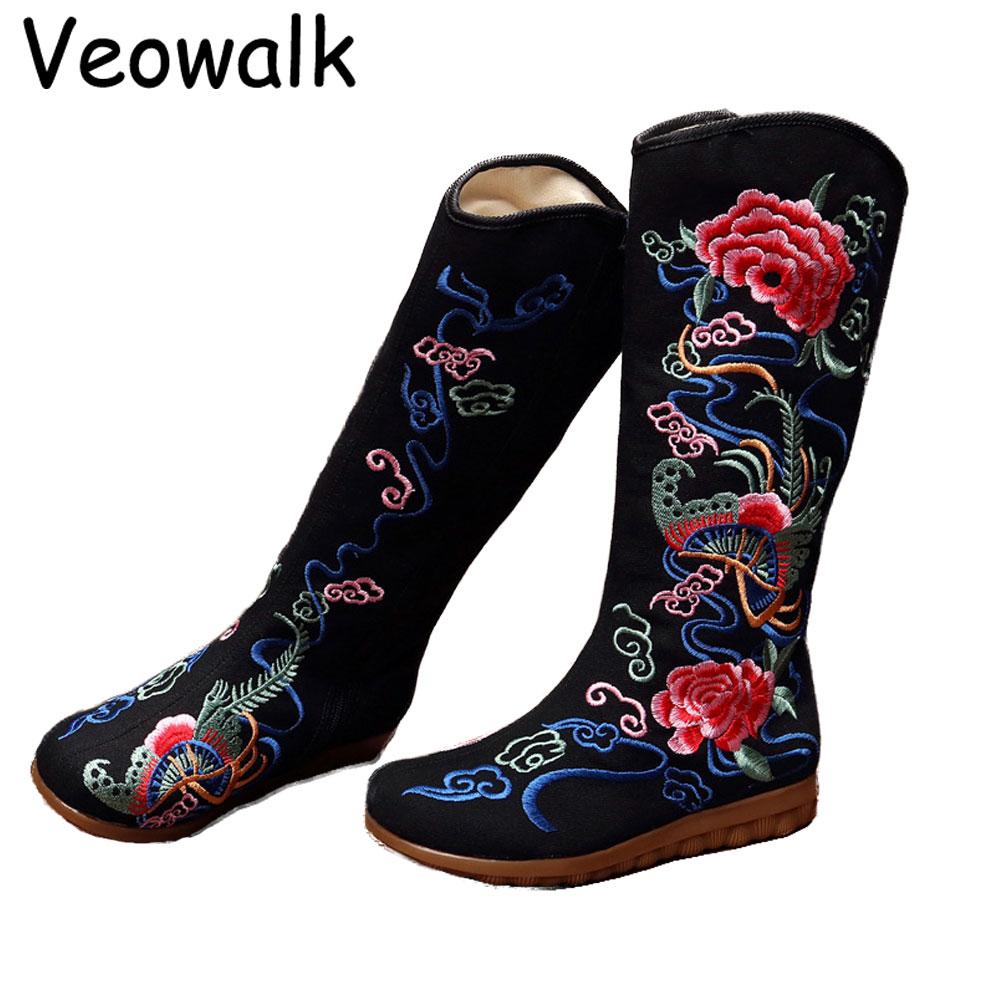 Botas Chaussures Dames Noir Mujer Pékin Brodé Coton Bottes rouge Toile Vieux Plate forme Mi Plat Casual Zipper Veowalk Femme Automne SwqZnRzz6
