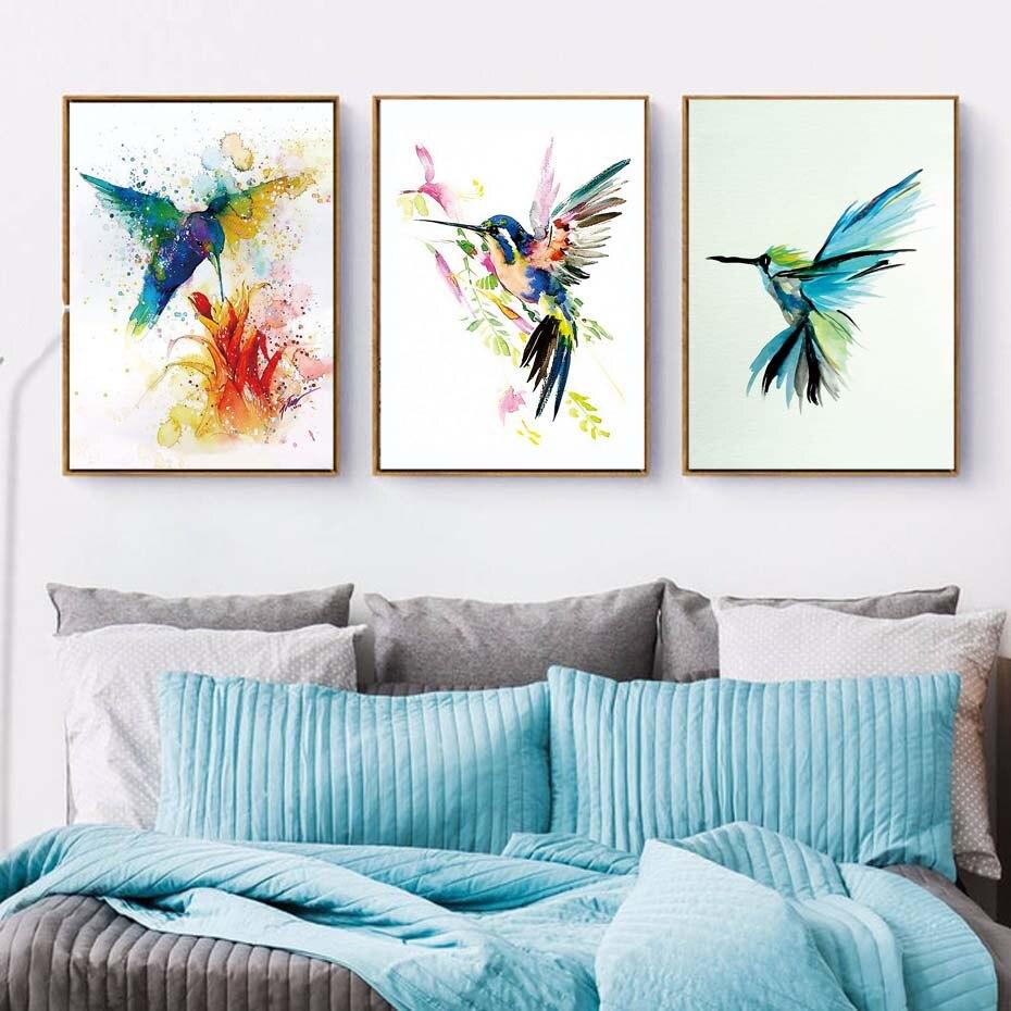 >Abstract <font><b>Watercolor</b></font> Bird Canvas Painting Wall Beautiful Modern Bird Art Print Poster Living Room wall murals picture <font><b>Home</b></font> Decor