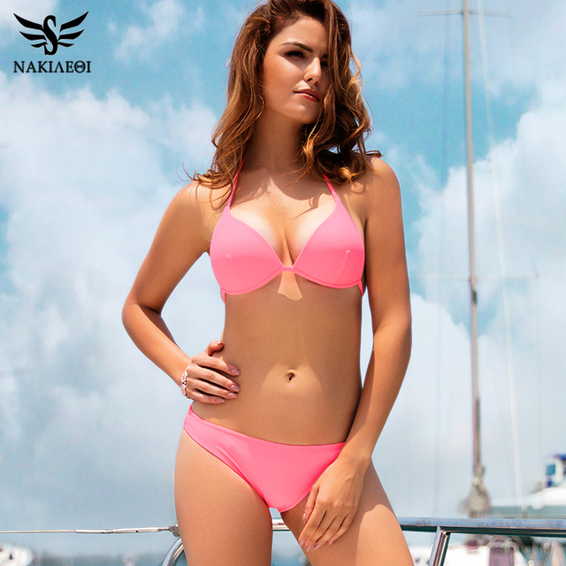 a7189b454589e NAKIAEOI Sexy Halter Bikini Set Push Up Swimwear Women Brazilian Bikini 2018  Solid Pink Swimsuit Summer Beach Bathing Suits Swim