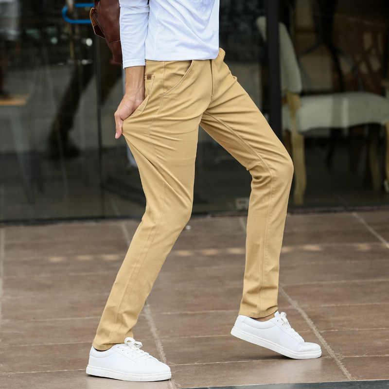 男性カジュアルパンツチノ 98% 綿 2% スパンデックスストレート春秋夏弾性グレーカーキ全身ロング男のズボン
