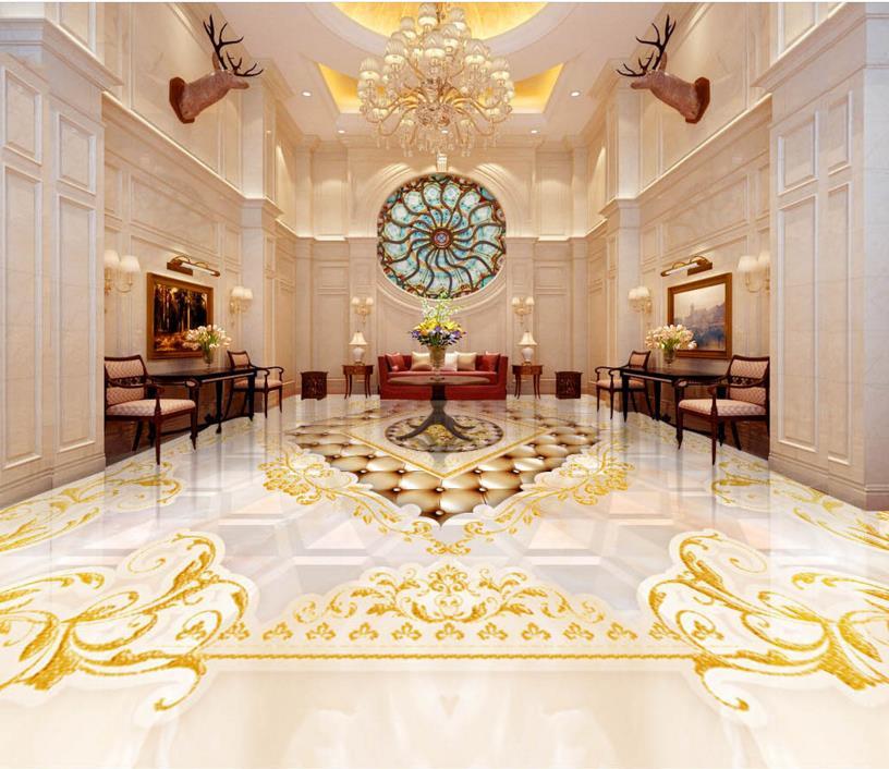 Custom 3d photo floor European royal style 3d floor printing wallpaper waterproof self adhesive pvc flooring roll