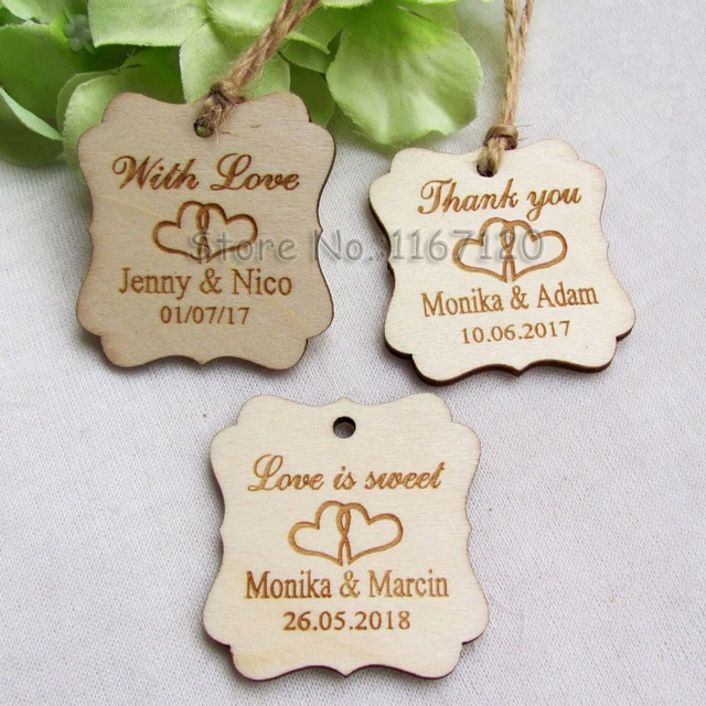 65200pc personalized engraved thank youwith lovelove is sweet wedding tags wooden hang tags wedding bridal shower tags in party favors from home