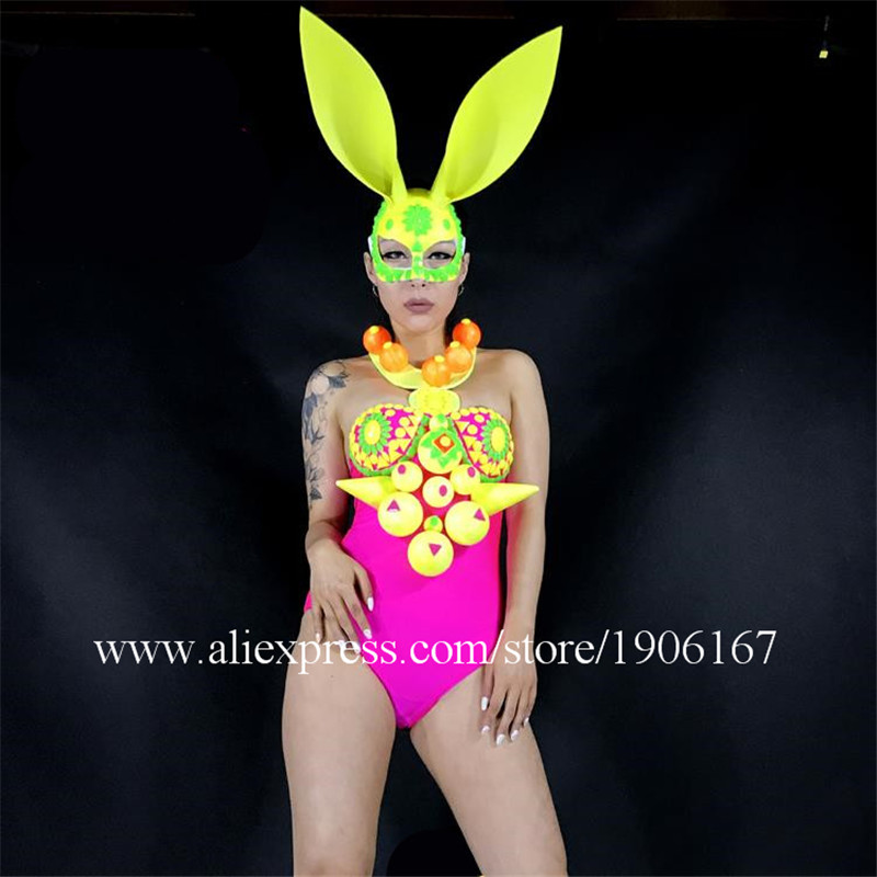 Rabbit Mask Design Sexy Girl Stage DJ Dancer DJ Singer Suit Headwear Performance Shows Ballrooom Costume Clothes