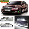 eeMrke Car LED DRL For Skoda Superb B6 2008-2015 High Power Xenon White Fog Cover Daytime Running Lights Kits