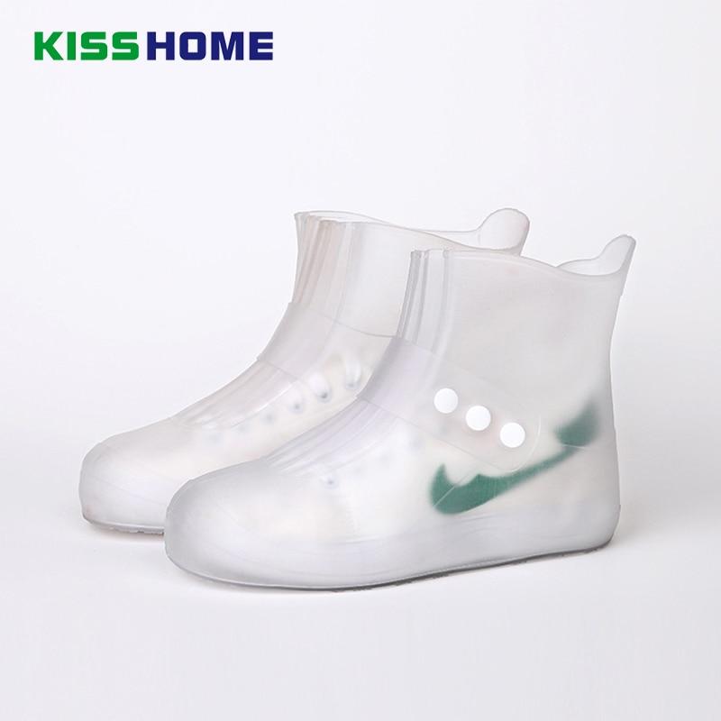 Men Womens PVC Rain Waterproof Flat Ankle Boots Cover Heels Boots Shoes Covers Thicker Non-slip Platform Rain Boots