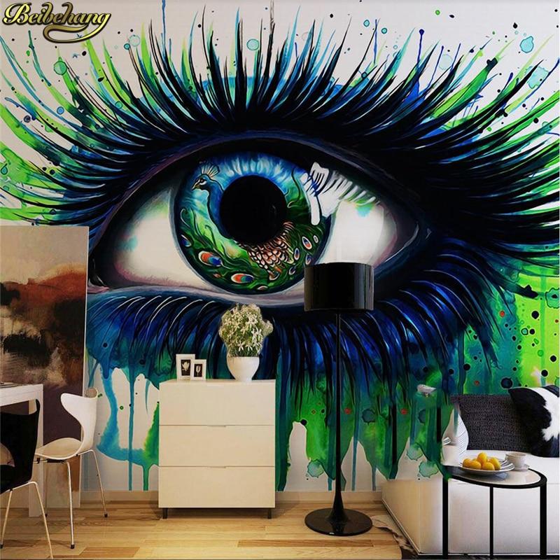 Beibehang personalizado foto papel de parede 3d pavão azul cílios pintados abstratos pintura a óleo papéis decoração da sua casa