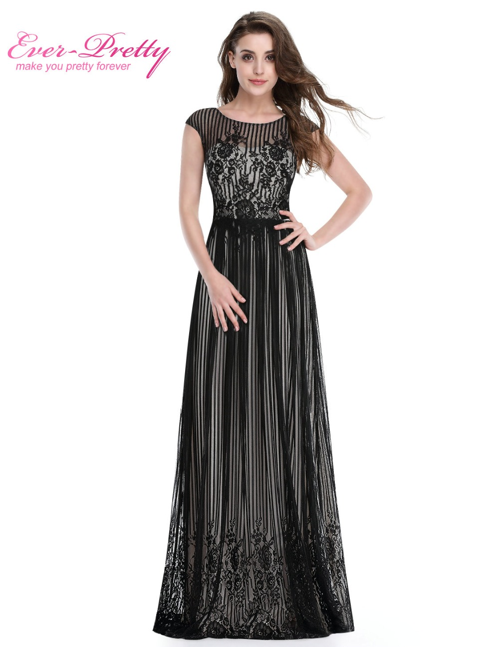 Long Formal Evening Dress Ever Pretty HE08828 Plus Size Evening Dress Black Sexy Evening Dresses Ladies Evening Dress