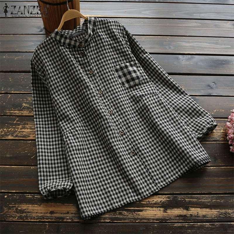 2019 ZANZEA Autumn Vintage Check Shirts Women Casual Long Sleeve Loose Tunic Tops Elegant Work OL Plaid Blouse Female Blusas