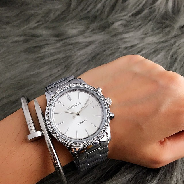 CONTENA Fashion Silver Watch Women Watches Luxury Rhinestone Women's Watches Stainless Steel Ladies Watch Female Clock Gift