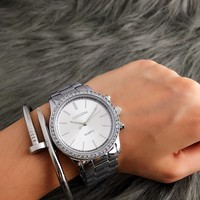 CONTENA Moda Prata Relógios Senhoras Relógio Relógio das Mulheres Strass Relógios De Luxo Mulheres Relógio Relogio feminino Zegarek Damski relogio at relogio brand relogio fashion -