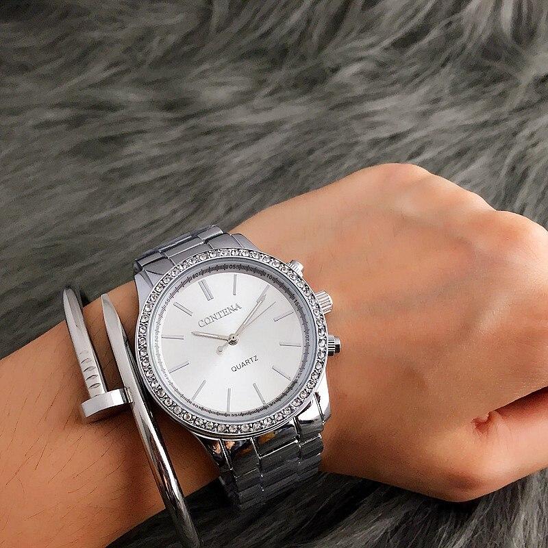 Модные женские серебряные часы CONTENA роскошные женские часы со стразами женские часы из нержавеющей стали женские часы подарок