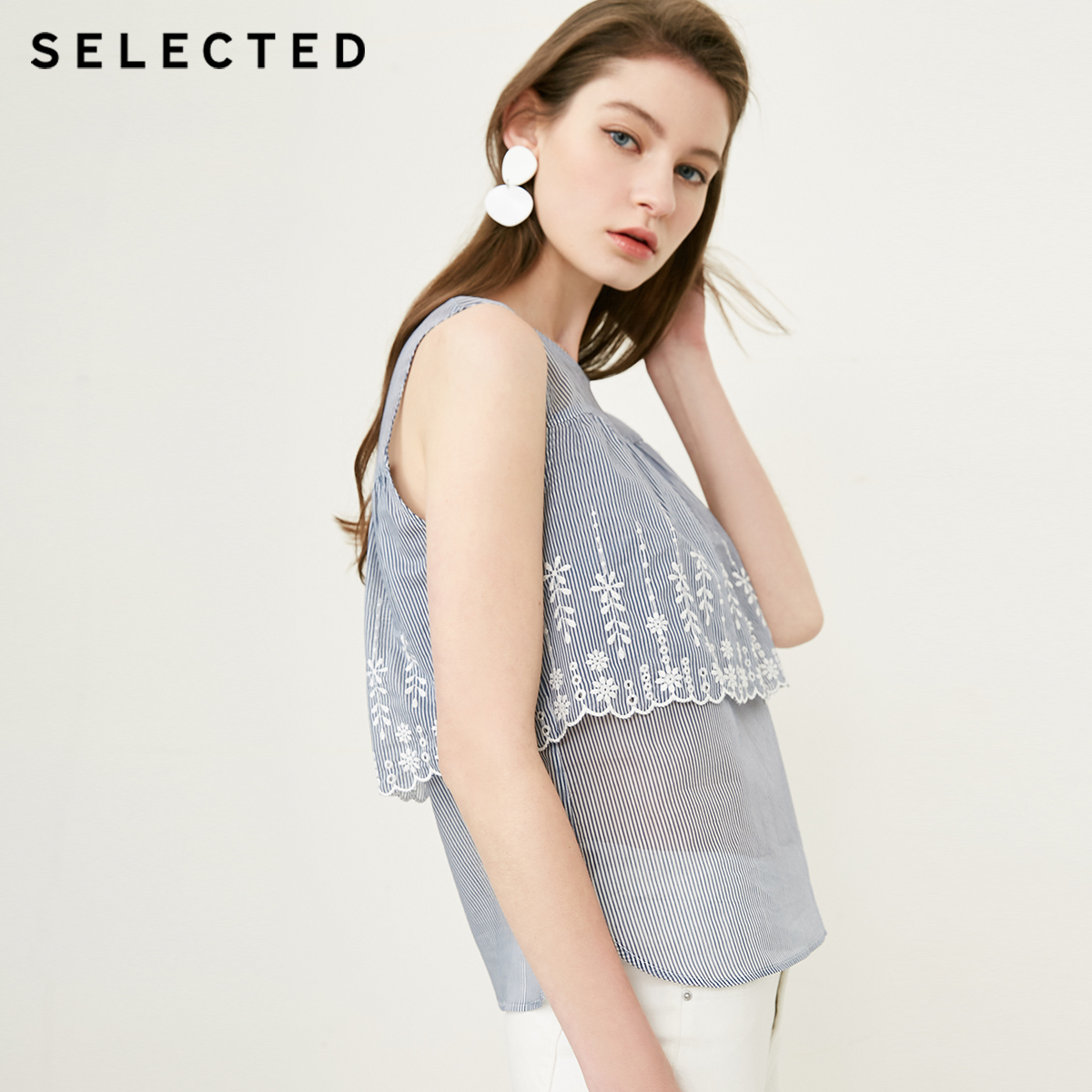 SELECTED new women s silk striped embroidered sleeveless stitching top S 4182W3511