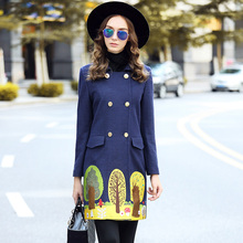 Ouyalin L-5XL Embroidered Double Breasted Wool Coat Women Navy Blue Fall Winter Long Outwear Plus Size Clothing